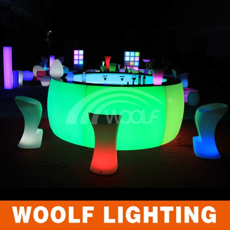 RGB LED Furniture Rental Round Bar Counter For Hotel
