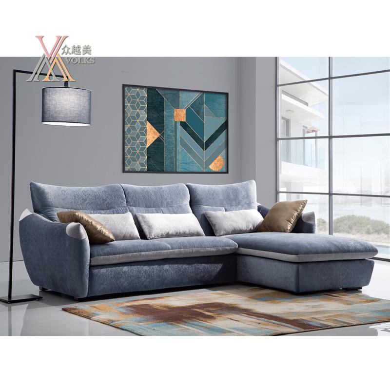 Simple Blue Fabric Sofa (1611)
