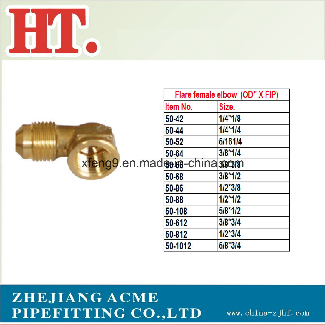 American Brass Flare Female Elbow (OD′′ X FIP) Fitting