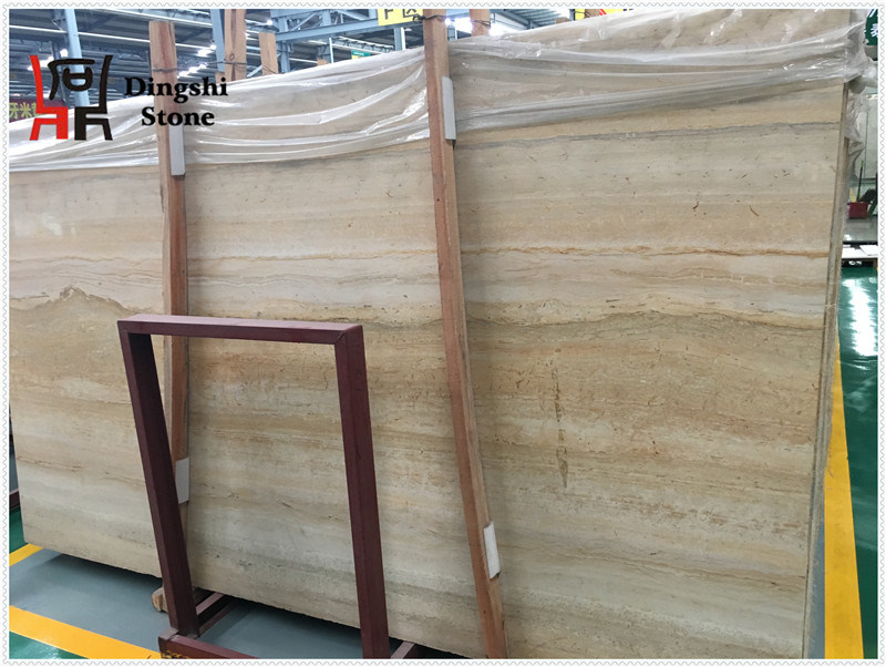 Golden/Beige Wood Vein Travertine Stone for Floor /Wall Tile