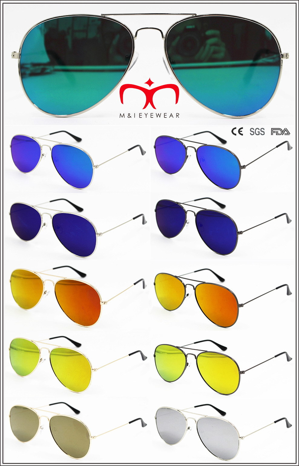 New Fashion Metal Sunglasses with Flat Lens (MI160223)