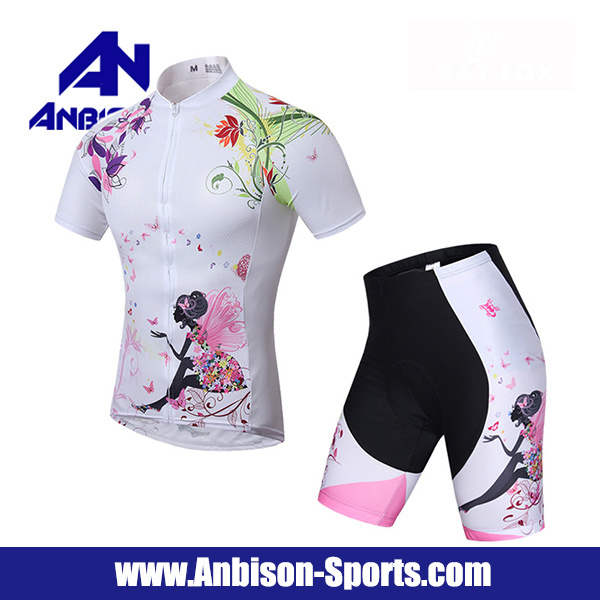 Summer Cycling Flower Fairy Short Sleeve Shirt and Pants Suit