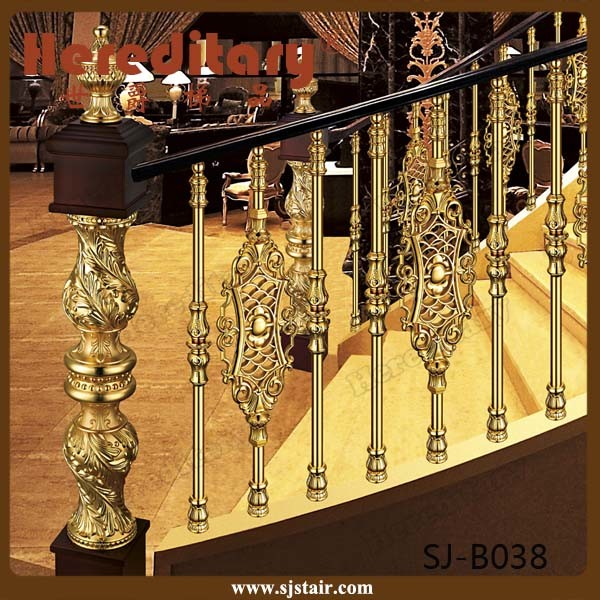 Hotel Gold Color Curved Stair Railing Aluminum Balustrade (SJ-B038)
