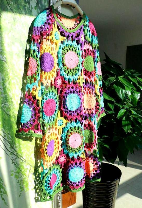 100% Cotton Hand Crochet Classic Vintage Long Evening Dress