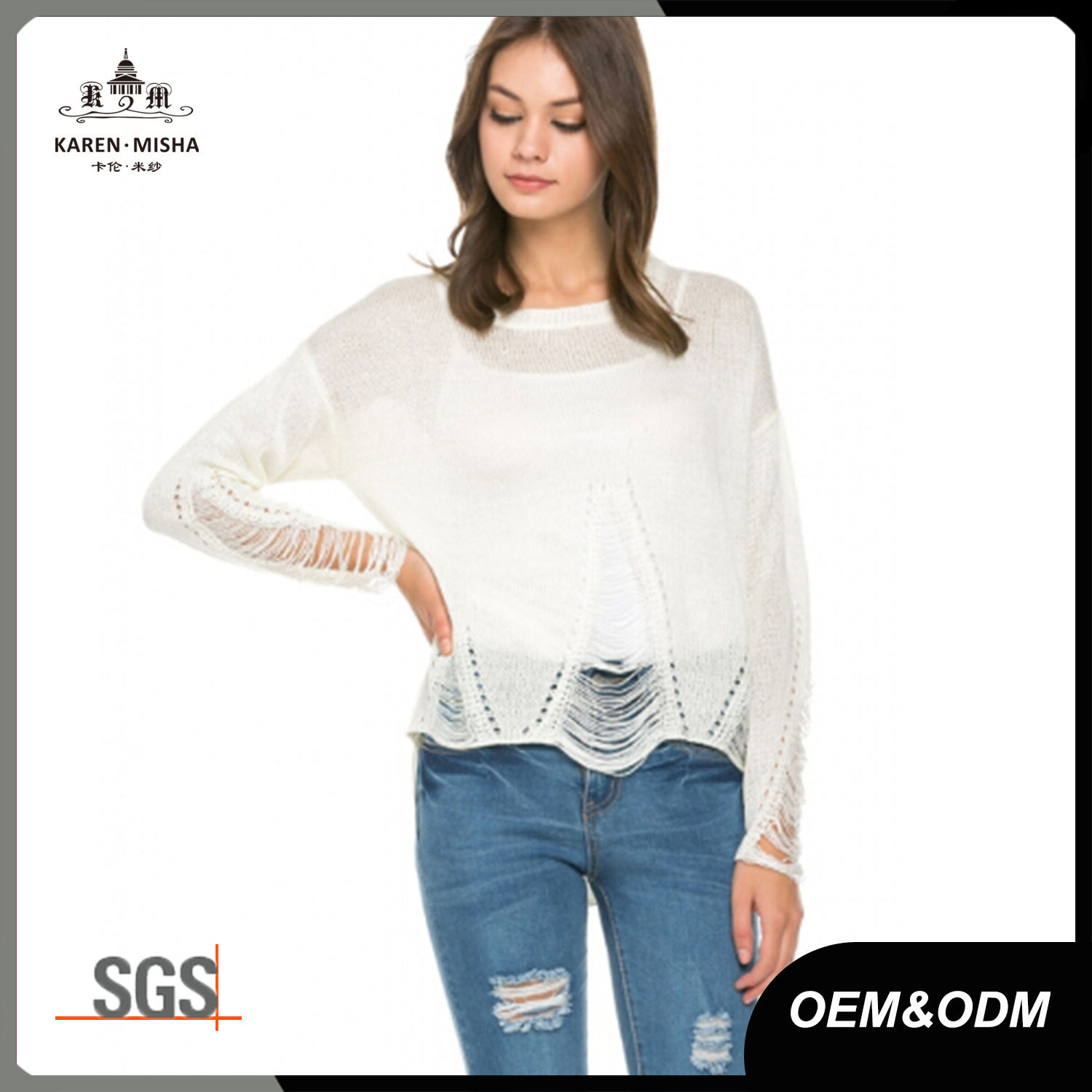 Ladies Online Distressed Fashion Knitwear Clothing Apparel