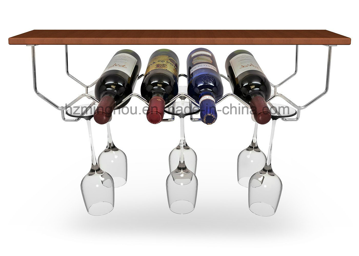 6-Bottles Metal Under Cabinet Wine Bottle Storage Glassware Holder