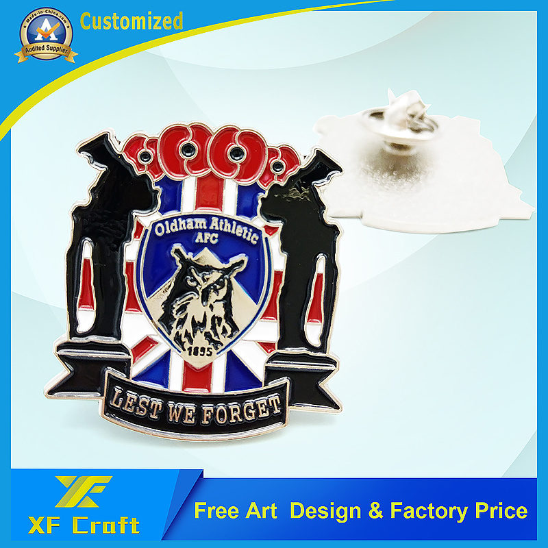 Wholesale Customized Promotion /Souvenir Gift Soft Enamel Iron Stamping Pin Badge with Nickel Plated (XF-BG38)