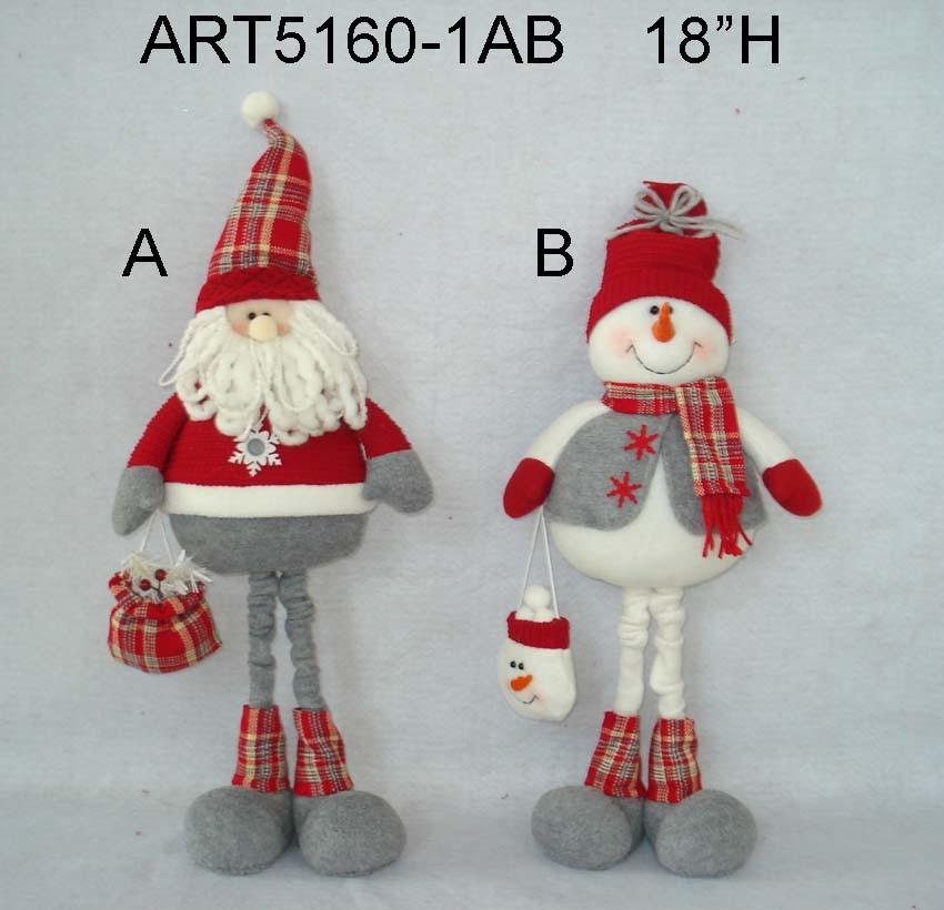 Standing Treeshaped Santa and Snowman-2asst Christmas Gift