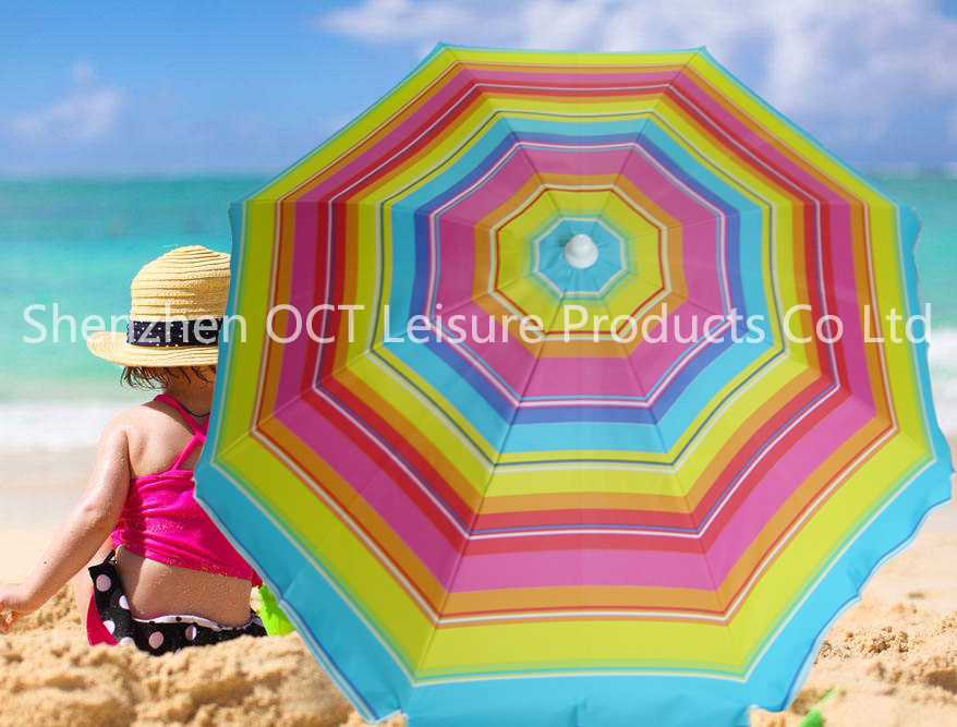 Thick Cover Beach Umbrella with Stripe Design & Silver Coating