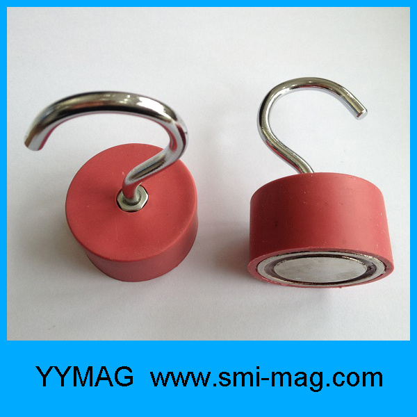 High Quality D45X25mm Rubber Coated Rare Earth Permanent NdFeB Neodymium Magnet Hooks