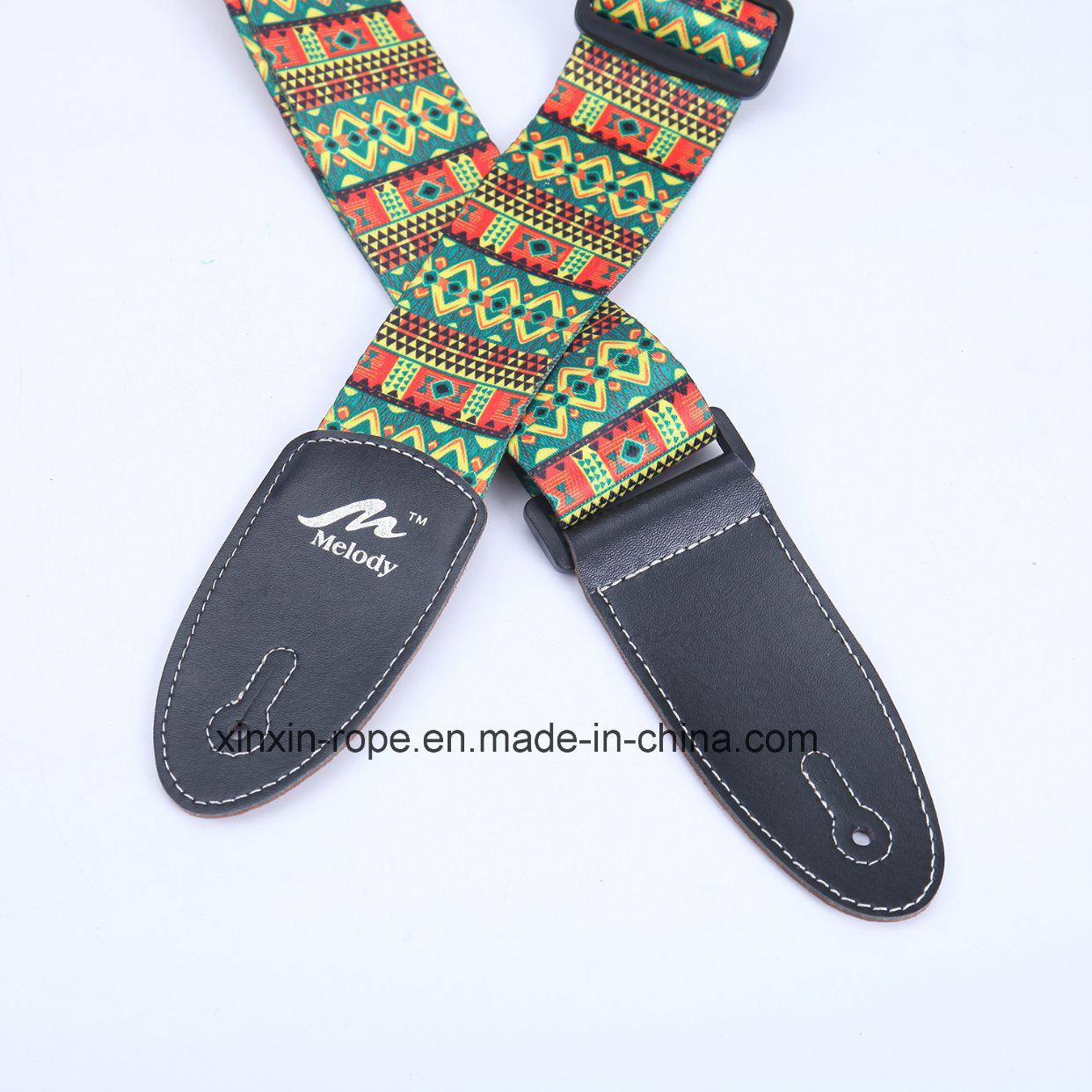 Fashion Jacquard PU Leather Webbing Belt for Guitar