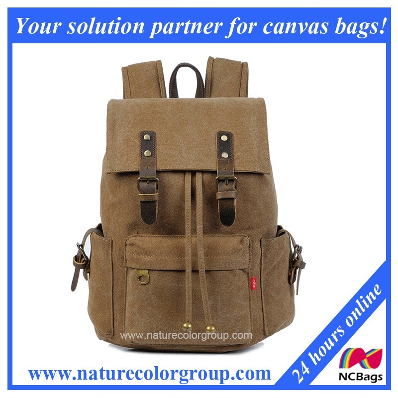 Retro Leisure Sports Hiking Camping Canvas Backpack (SBB-038)