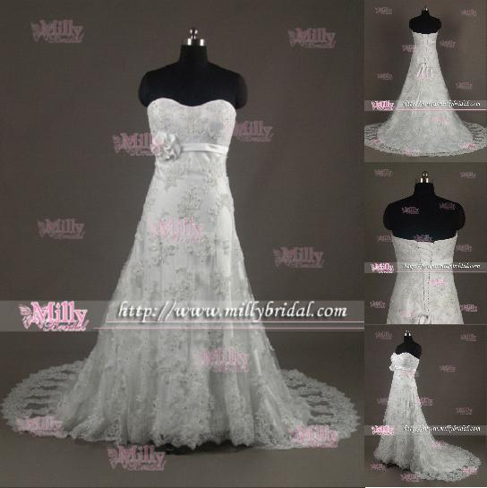 Beaded Elegant Lace A Line Wedding Gown WG1230