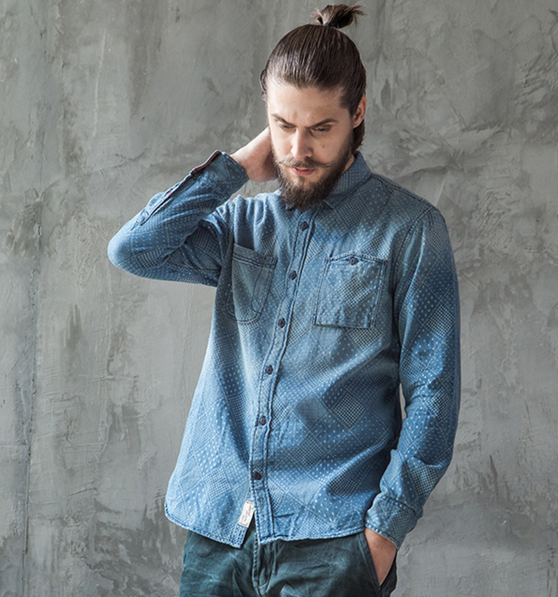 Classic European Spring Autumn Long Sleeves Blue Men′s Jeans Shirt