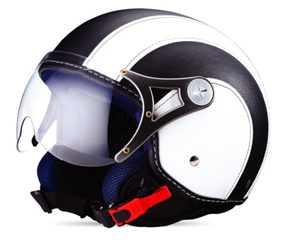 ECE/DOT Open Face Motorcycle Helmets with Leather Cover