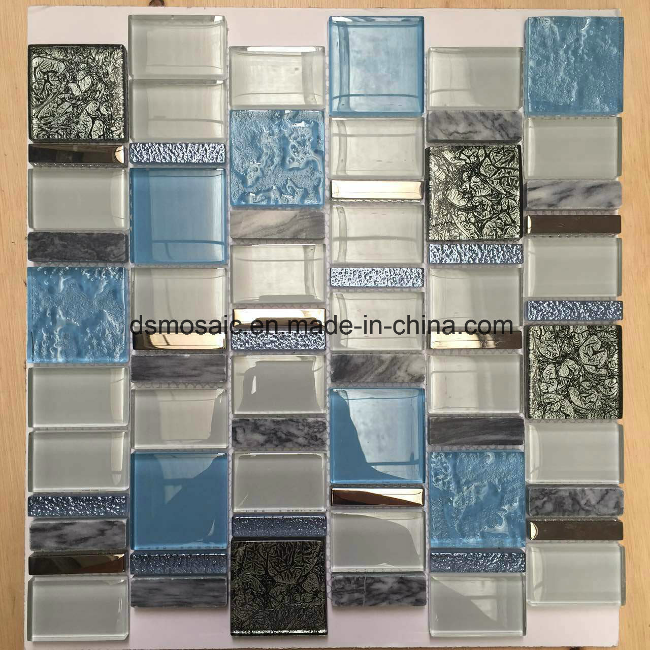European Style Blue Glass and Marble Mosaic Tile for Wall