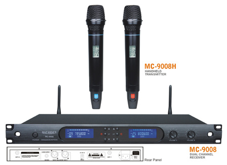 Pll&UHF Dual Channel Wireless Microphone System (MC-9008)