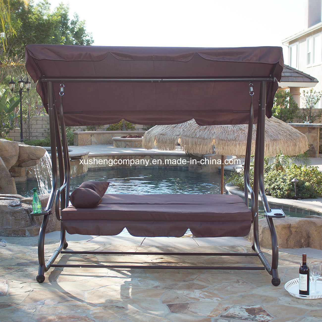 Deluxe 3 Seater Patio Garden Swing Chair/Bed with 2 Pillows