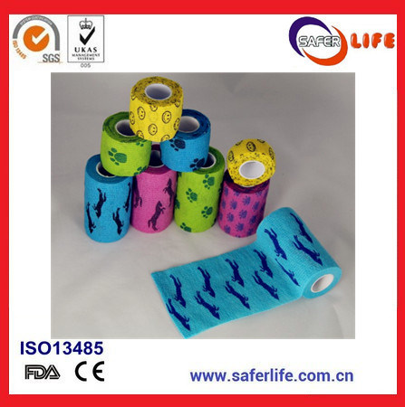 Sport Color Printed Therapy Cohesive Tape with 5cm*5m
