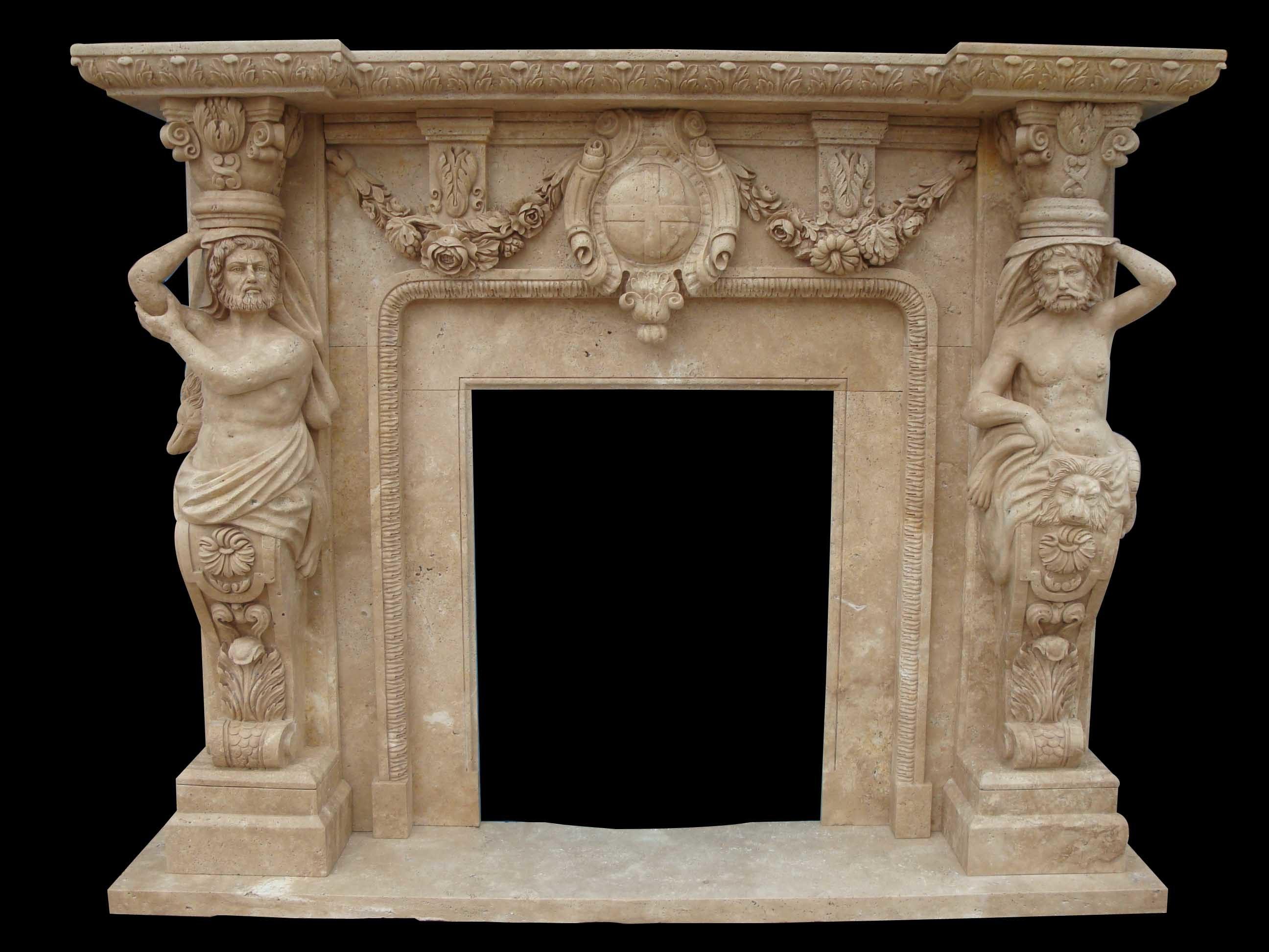 Brown Travertine Stone Fireplace (FRP326)