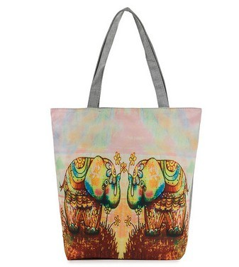 an Elephant Print Exotic Folk Style Canvas Bag (LDO-01649)
