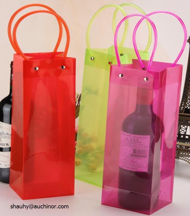 Portable PVC 1.5L Wine Cooler Plastic Bottle Holder Bag