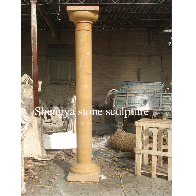 Gold Marble Stone Sculpture Column for Home Decoration (SY-C017)