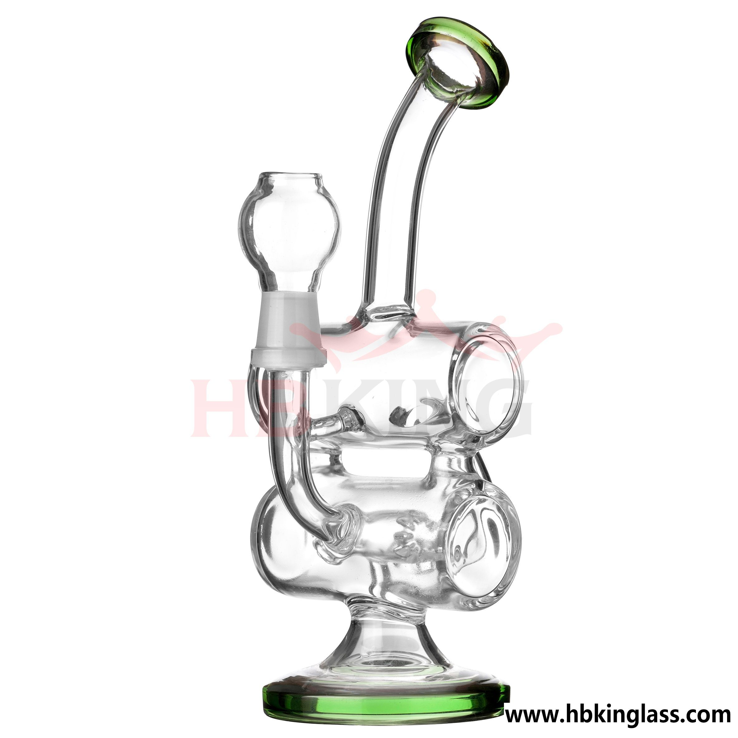 9 Inches Double Chamber Glass Recycler Bubbler with Drum Diffuser