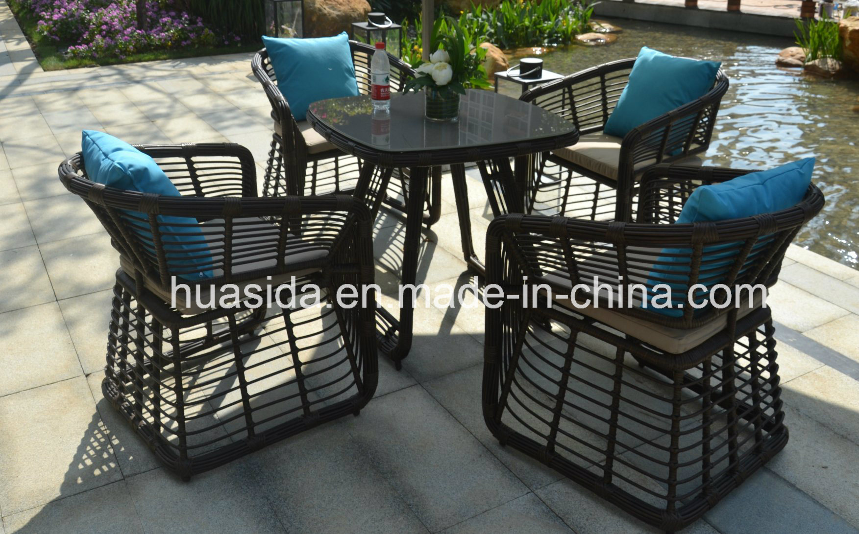 Patio Dining Round PE Rattan Dining Table Set
