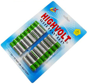 R6p AA Battery with 16PCS/Blister Card Packing (High Volt)