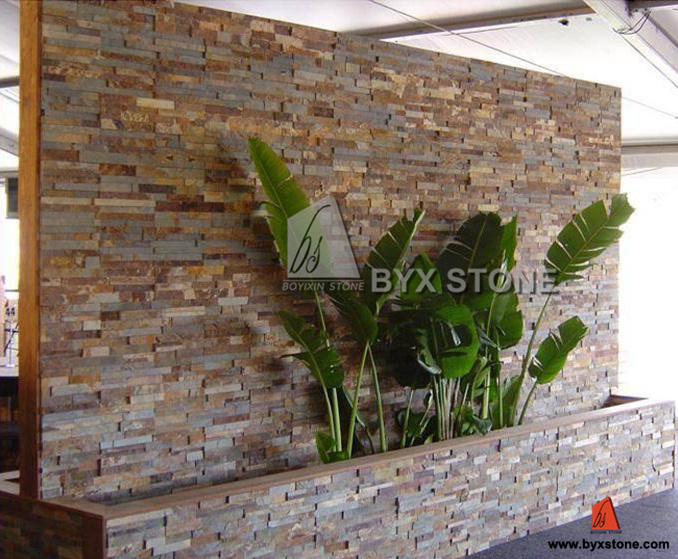 Wood Yellow Quartzite / Slate Culture Stone for Wall