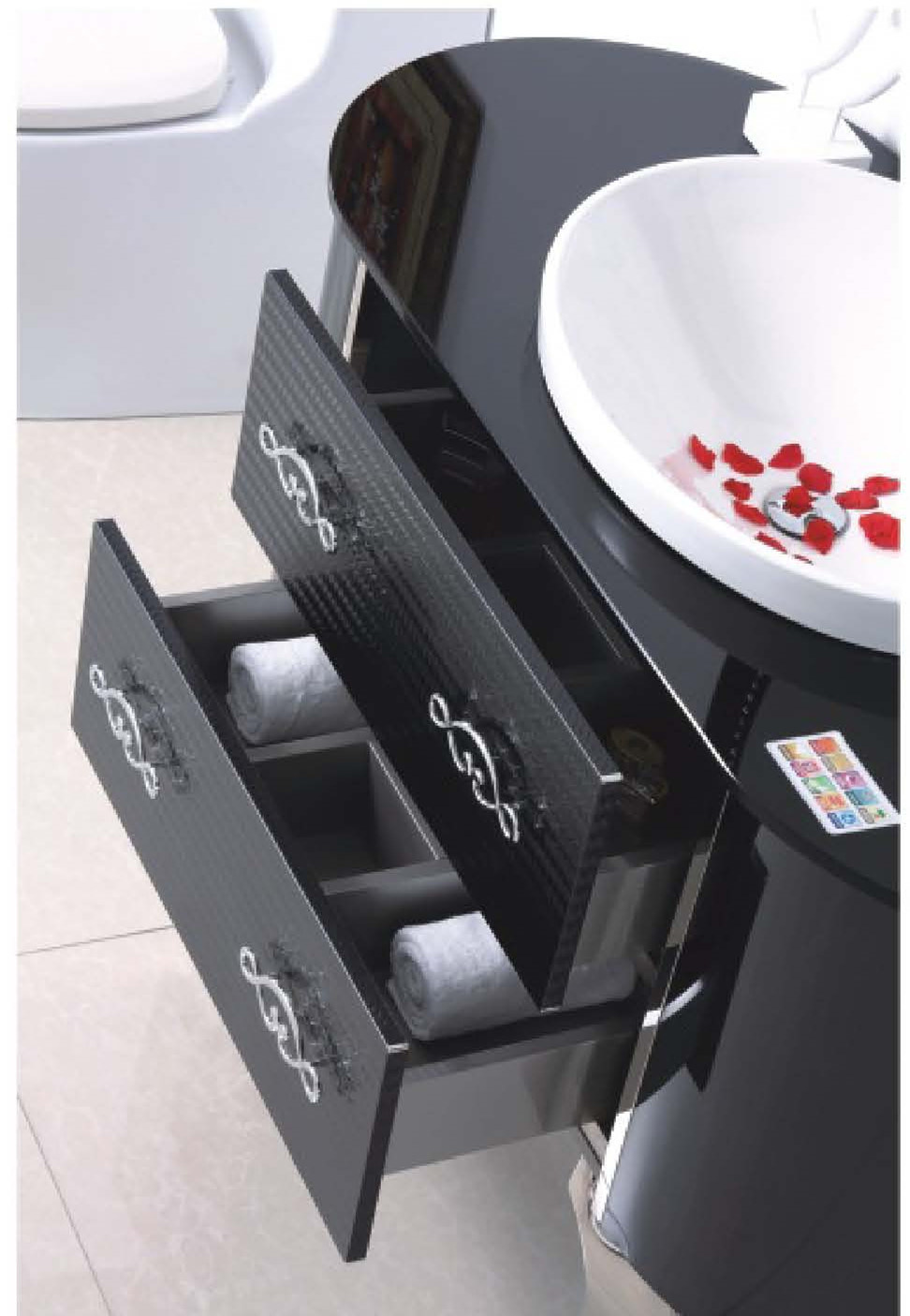 Black Silver on Floor Modern Mirrored Stainless Steel Bathroom Cabinet (JN-88850)