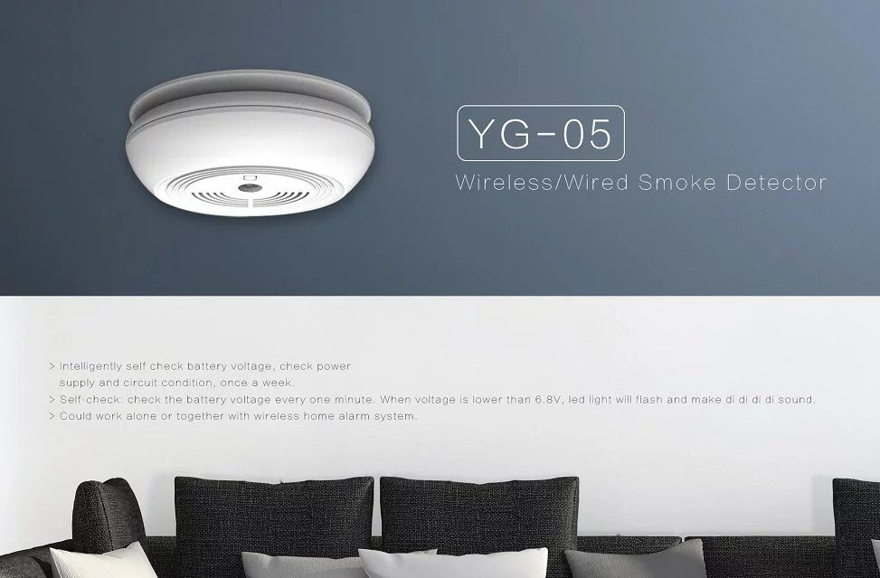 Wireless Smoke Detector, Smart Wireless Smoke Detector Yg-05