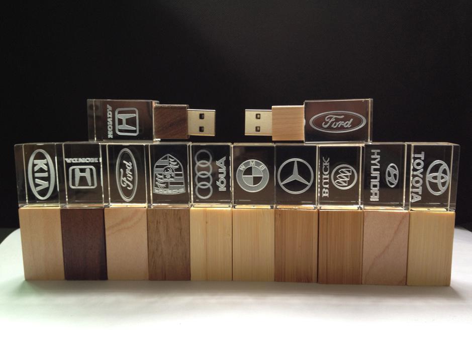 Wood & Bamboo Crystal USB Stick 4GB 8GB 16GB 32GB