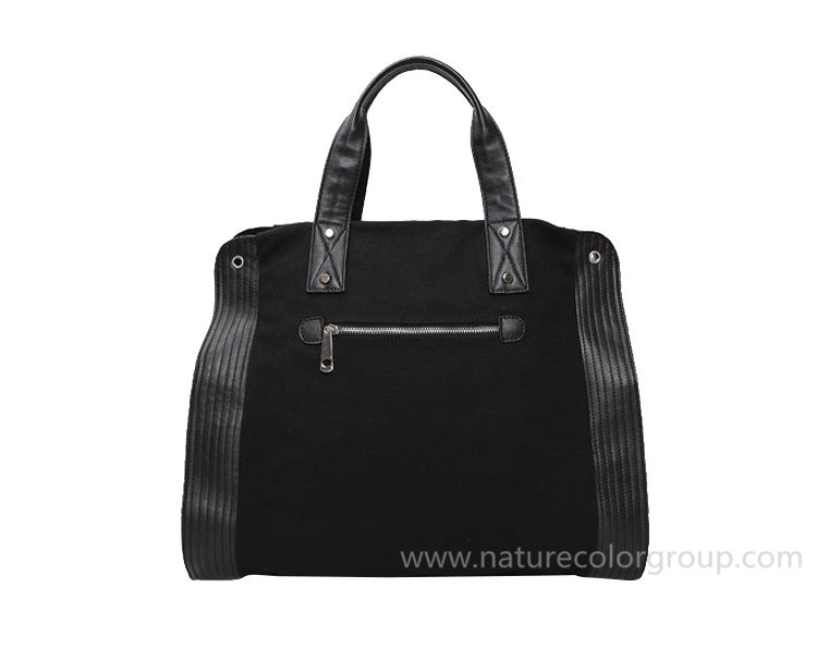 Leisure Canvas Black Handbag for Outdoor