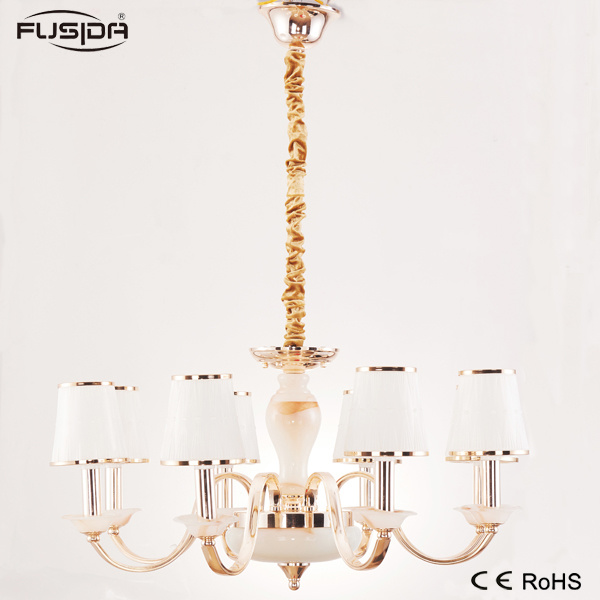 Iron Pendant Light Chandelier Lighting with Glass Lampshade (D-6103/8)