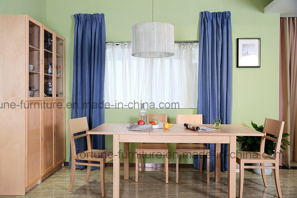 Wooden Extendable Birch Veneer UV Matt Clear Lacquer Dining Table (AD-FA-B601-CT)