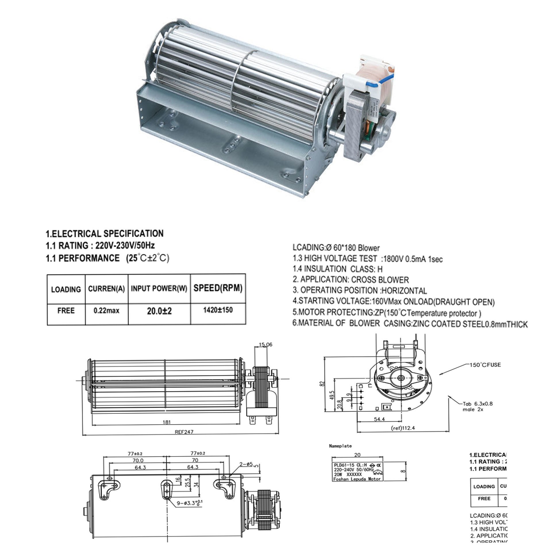 Long Life Shaded Pole Electricial Motor for Heater/Warmer Fan