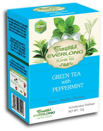 Peppermint Flavored Green Tea Pyramid Tea Bag Premium Blends Organic & EU Compliant (FTB1511)
