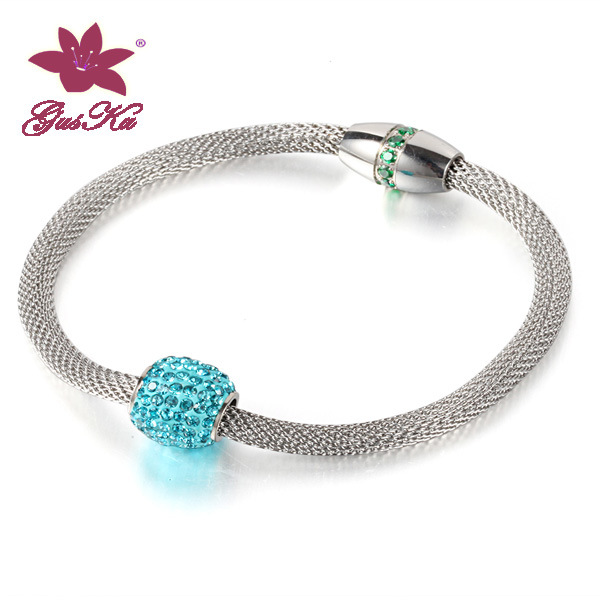 Fashion Stainless Steel Mesh Chain with Crystal Ball Necklace Jewelry