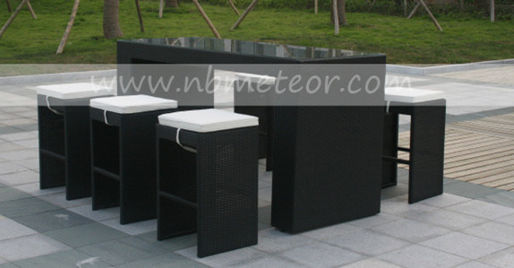 Garden Wicker Chair PE Rattan Furniture Bar Set with Cushion for Outdoor Restaurant (MTC-054)