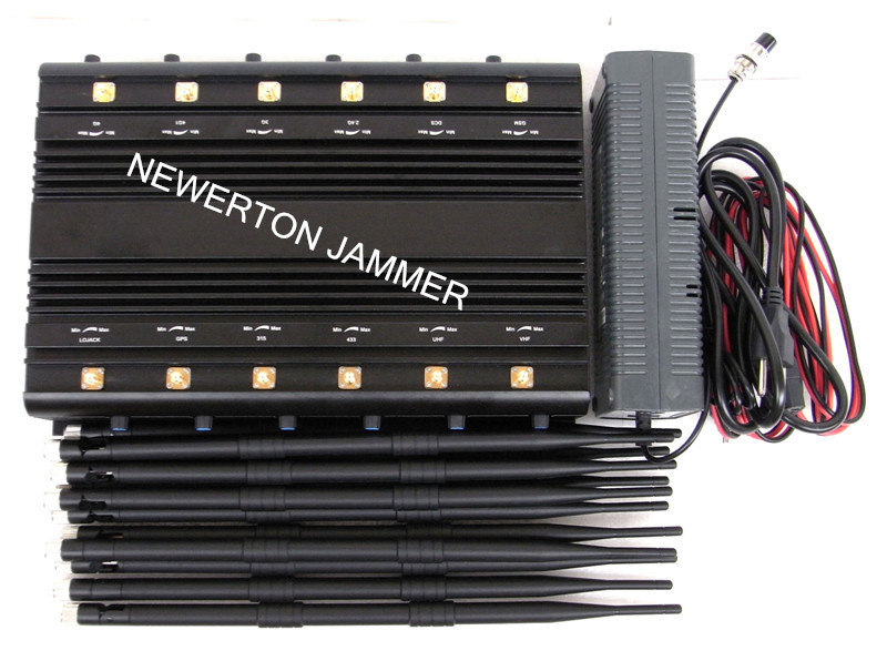 Stationary 12 Bands Desktop Jammer Blocker for All Cellphone, Remote Control, VHF/UHF RF Radio Jammer/Blocker; All in One Jammer/Blocker