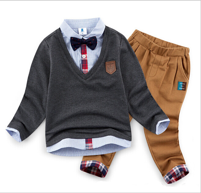 2015 New Arrival Two-Piece Autumn Winter Fashion Cotton Cool Kids Suit Children Apparel