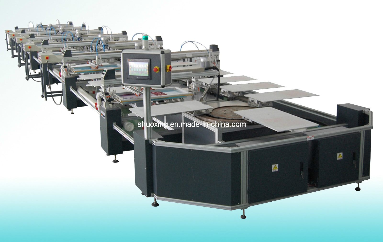 Oval Fully Automatic T Shirt Screen Printer, Automatic Textile Screen Printing Machine