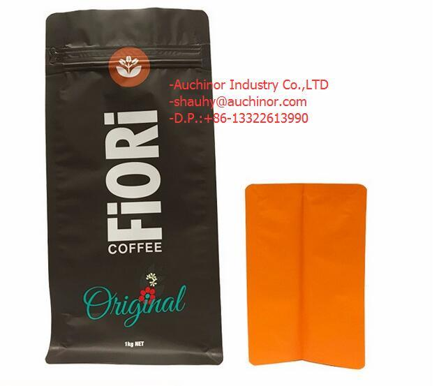 Standing Side Gusset PE Lined Kraft Paper Packaging Quad Seal Flat Block Bottom Coffee Bags with Valve