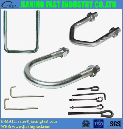 Steel/Stainless Steel U Bolt / DIN 3570 / L Bolt / J Bolt / V Bolt / Anchor Bolt/ Hook Bolt