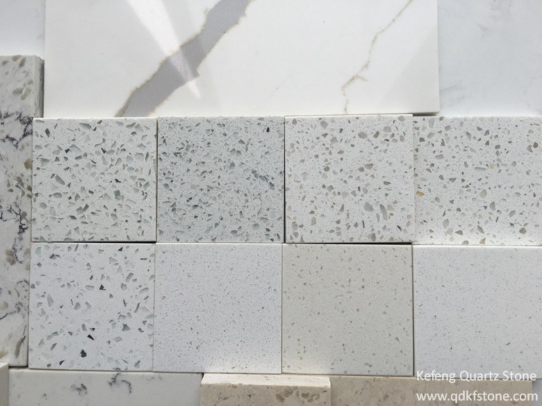 Eco Beige White Marble Prefab Kitchen Island Artificial Stone Quartz Stone