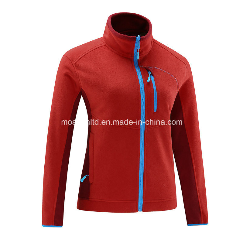 Women Micro Polar Fleece Zipper Down Light Jacket