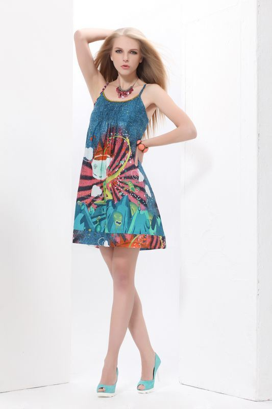 Model Cute Girl Floral Flocking Princess Short Skirt