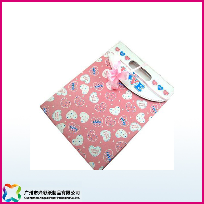 Colorful Printed Gift Packaging Paper Bag with Ribbon (XC-5-003)